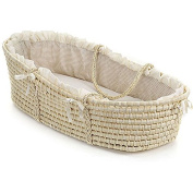 Natural Baby Moses Basket with Ecru Gingham Bedding and Wicker Material
