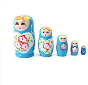 Glamorway Lovely Russian Nesting Matryoshka 5-Piece Wooden Doll Set Wooden Doll Hand Painted Doll Toy