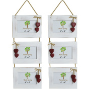 Nicola Spring Triple White Wooden 3 Photo Hanging Picture Frame With Red Hearts - 15cm x 10cm - Pack Of 2