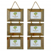 Nicola Spring Triple Wooden 3 Photo Hanging Picture Frame - 15cm x 10cm - Pack Of 2