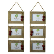 Nicola Spring Triple Wooden 3 Photo Hanging Picture Frame With Red Hearts - 15cm x 10cm - Pack Of 2