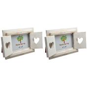 Nicola Spring White Wooden Heart Shutters Freestanding Photo Picture Frame - 15cm x 10cm - Pack Of 2