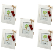Nicola Spring White Wooden Photo Picture Frame With Red Hearts - 10cm x 15cm - Pack Of 5