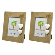 Nicola Spring Wooden Photo Picture Frame With White Hearts - 10cm x 15cm - Pack Of 2