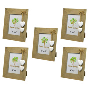 Nicola Spring Wooden Photo Picture Frame With White Hearts - 10cm x 15cm - Pack Of 5