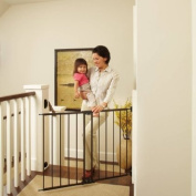 North States Easy Swing and Lock Gate 70cm - 120cm , Top of Stairs Baby Gate, Includes Mounting Kit, Matte Bronze