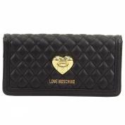Love Moschino Women's Black Quilted Leather Clutch Shoulder Handbag