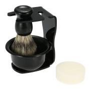 Docooler 4 In 1 Men's Shaving Set, Shaving Badger Hair Brush + Shaving Razor Holder Stand + Soap Bowl + Shaving Soap