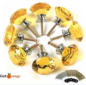Get Orange 8 Pcs 40mm Yellow Diamond Crystal Glass Alloy Door Drawer Cabinet Wardrobe Pull Handle Knobs -with 3 kinds of Screws