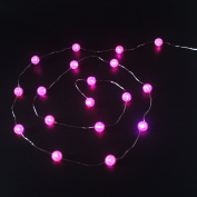 Ryham Battery Operated Crystal Ball String Lights 16 LED 7.38ft 2.25M Fairy Globe Bubble Decor Lighting for Outdoor Indoor Patio Party Curtain Bedroom Christmas Seasonal Decorations,Pink