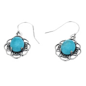Sterling Silver Oval Amazonite Turquoise Dangling Earrings