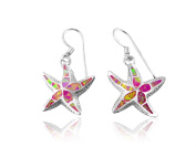 925 Sterling Silver Pink Inlay Mosaic Opal Starfish 3D Dangle Earrings Set