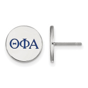 925 Sterling Silver Rhodium-plated Circle Theta Phi Alpha Sorority Enamelled Post Earrings