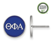 925 Sterling Silver Rhodium-plated Circle Enamelled Sorority Theta Phi Alpha Post Earrings