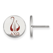 925 Sterling Silver Rhodium-plated Sorority Alpha Chi Omega Circle Enamelled Post Earrings