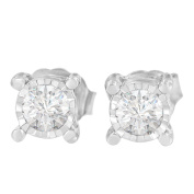Sterling Silver Miracle Plated Round-cut Diamond Stud Earring