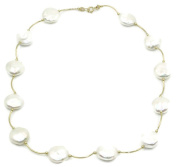 Freshwater White Coin 12.5 mm Pearl Necklace 14k Yellow Gold Spacer ,16 Inches