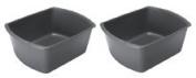 Maxeeze Care Rectangular Plastic Wash Basins, Grey, 7.6l.
