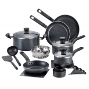 T-fal A821SI Initiatives Nonstick Inside and Out Dishwasher Safe Oven Safe Cookware Set, 18-Piece, Charcoal by T-fal