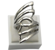 304 Stainless Steel Ladies Stylish Hollow Out Angel Wings Pattern Midi Finger Ring Size 7 8 9