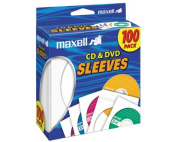 CD/DVD White Paper Sleeves Clear Front (100 Ea/Box) (190133) - by Maxell