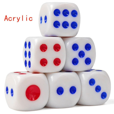 100 White Dice,Rounded red and blue dots - 1.36cm tou zi