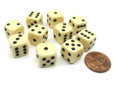 Pack of 10 12mm Round Edge Opaque Small Dice - Ivory with Black Pips