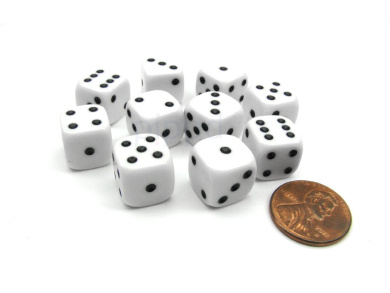 Pack of 10 12mm Round Edge Opaque Small Dice - White with Black Pips