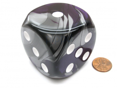 Gemini 50mm Huge Large D6 Chessex Dice, 1 Piece - Purple-Steel with White Pips