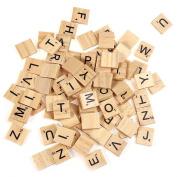 100pcs Wooden Scrabble Tiles Capital.Letters Board Alphabet Toy