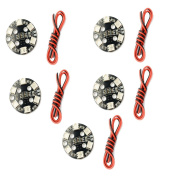 QwinOut 5Pcs RGB 5050 LED Light Board X6/12V 7 Colours Switch Round for RC 250 Racing Drone FPV Quadcopter Multicopter Helicopter Aeroplane