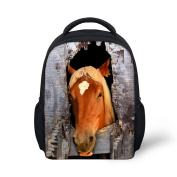 HUGSIDEA Cool Horse Pattern Small School Bags Kids Backpack