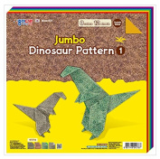 Jong Ie Nara Premium Craft Paper, Large Size - 30cm Square, 8 Colours - Double Sided Dinosaur Pattern, 12 Sheets, 60gsm