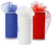 JULY 4th SPECIAL!!! 3 Spools of Tulle Fabric, 25-Yard each, Royal-Blue/Red/White - Great for Patriotic Party Decor