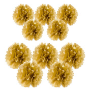 10pc Gold Metallic Tissue paper pom poms flower kit - Size 8 25cm Great for Decorations!
