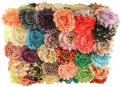 Chiffon Fabric Flowers for Crafts - Bulk Fabric Flowers Pack of 50 Assorted Colours and Prints