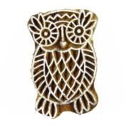 Brown Owl Design Textile Indian Wood Stamps Printing Block Brown Hand Carved Stamp