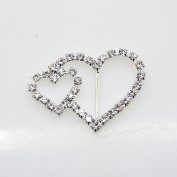 40pcs 39mm x 25mm Heart Shaped Rhinestone Buckle Slider for Wedding Invitation Letter