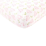 BabyVision Organic Cotton Fitted Crib Sheet, Pink Feather