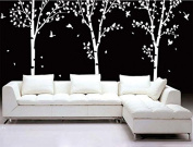 Super Big Three Birch Trees - White - Beautiful Tree Wall Decals for Kids Rooms Teen Girls Boys Wallpaper Murals Sticker Wall Stickers Nursery Decor Nursery Decals