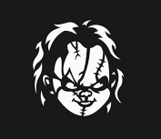 Chucky Face 15cm White Car Truck Vinyl Decal Art Wall Sticker USA Classic Scary Movies Child's Play Badass Halloween Horror