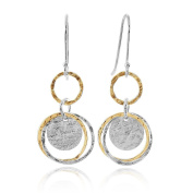 Delightful Multi Circle Two Tone Earrings 925 Sterling Silver & 14k Gold Filled