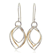 Two Tone Earrings Graduated Twisted Hoops in 925 Sterling Silver & 14k Gold Filled