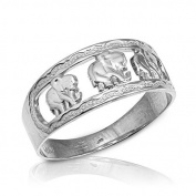 Polished 10k White Gold Textured Openwork Band Three Elephant Ring