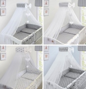 LUXURY 10Pcs BABY BEDDING SET COT BED PILLOW DUVET COVER BUMPER CANOPY to Fit Cot Bed Size 140x70cm 100% COTTON