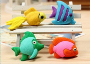 20 pcs Cute Novelty Kawaii Magic Animals Colourful Animal Little Fish Style Erasers Gifts Prizes For Kids Boys Girls School Family