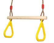 COMINGFIT Indoor Outdoor Wooden Trapeze Swing with Plastic Triangular Gym Rings for Kids