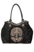 Banned Black Flocked Cameo Skeleton Handbag