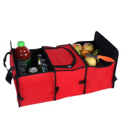 Medifier Multipurpose Oxford Fabric Foldable Car Cargo Storage Case Sturdy Storage - Foldaway Feature for Travel Vacation Camping Red