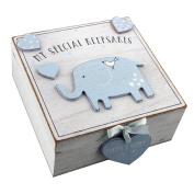 Baby Boy wooden Memories Keepsake Box Vintage Style